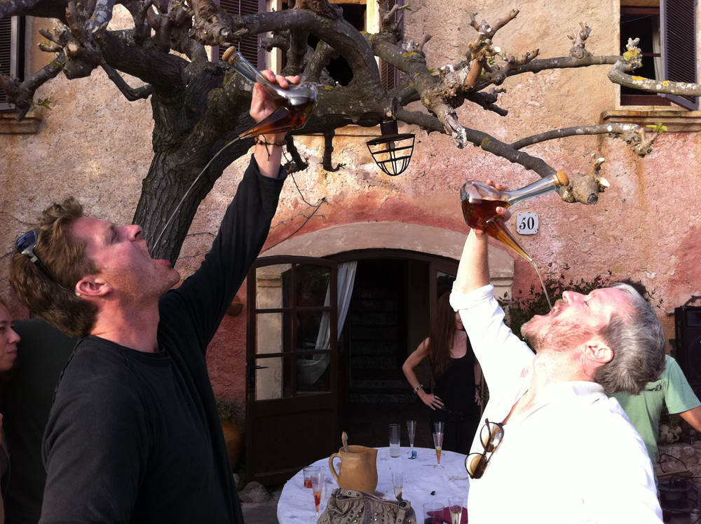 Frank and Brian with the Porron during a Calçatada in Penedes