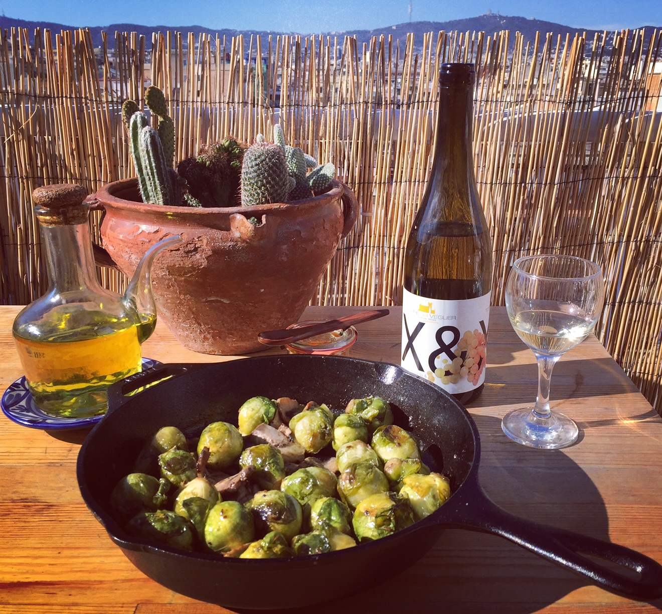 Brussels sprouts with truffle oil on my Lodge Cast Iron Skillet over looking Barcelona