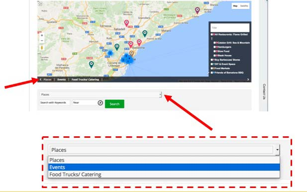 Search on Map or Search by Keywords